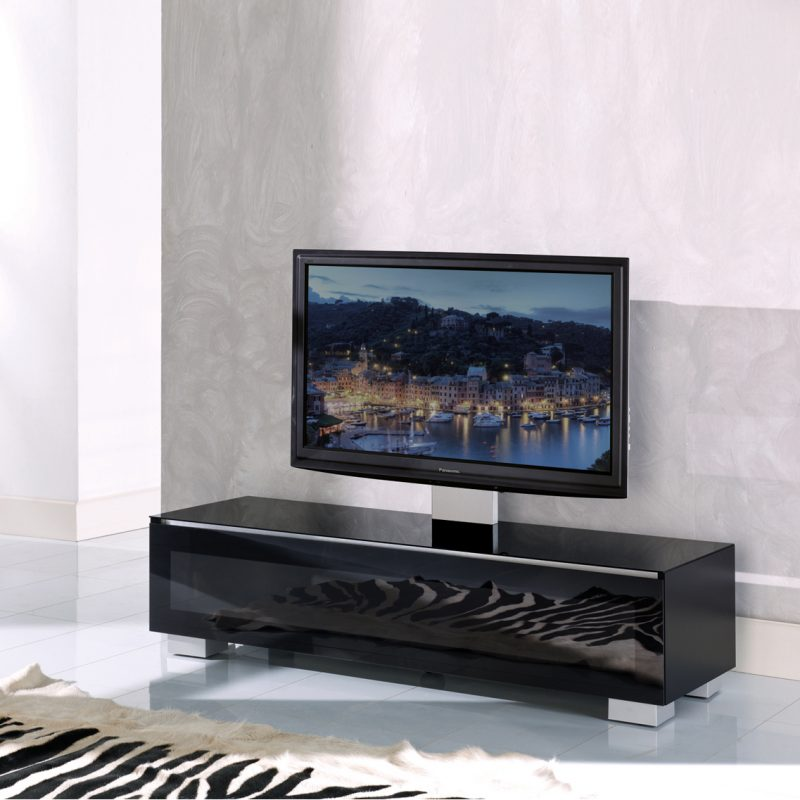 Cantilever Cabinet for screens up to 55″ in Black or White Glass