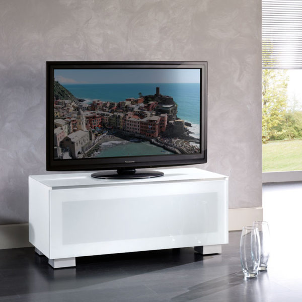 Table top TV Cabinet for screens up to 48″ with top and front in two tempered glass