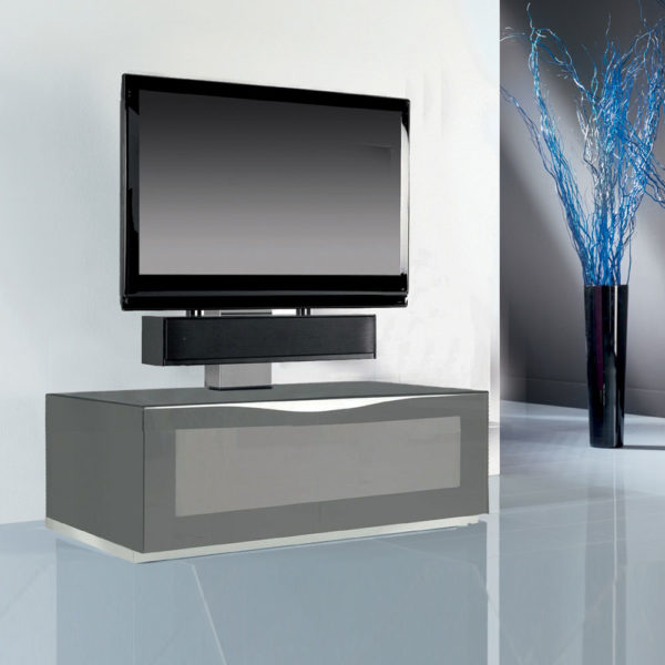 Stunning cantilever stand for screen up to 65″ and in four tempered glass finishes